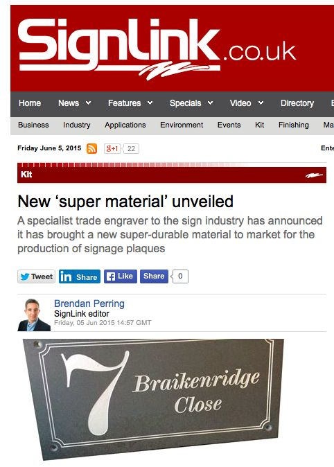 Signlink features Brunel Engraving launching new material