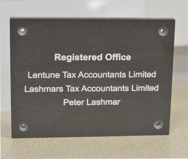 slate effect business plaque