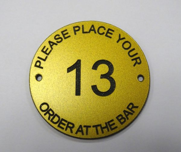 brass effect table number - order at the bar no13