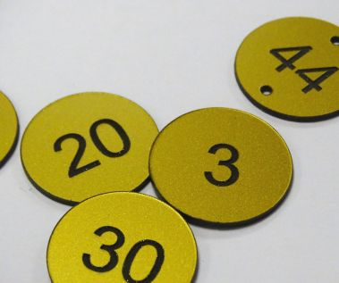 Brass Effect Table Numbers - 30mm