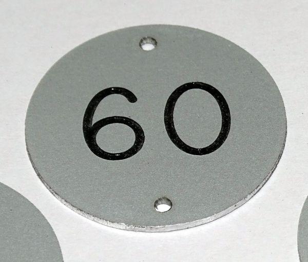 30mm diameter aluminium table number