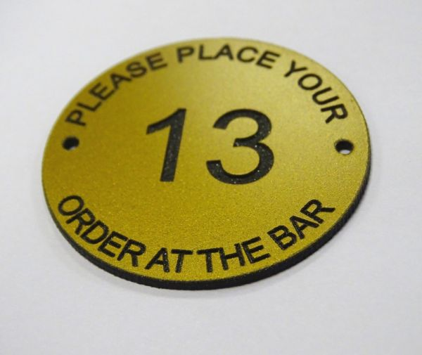 brass effect table number - order at the bar