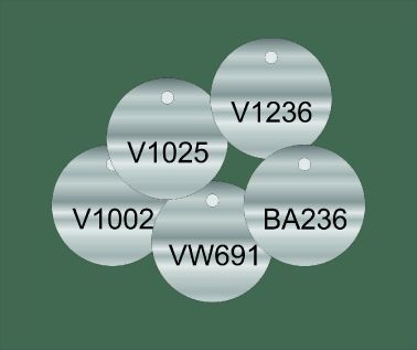 Stainless Steel Valve and Tag Labels - 50mm Diameter