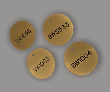 Brass Valve and Tag Labels - 40mm Diameter