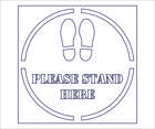 Social Distancing Stencil   please stand here   outline