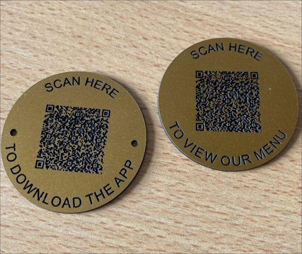 Matte Brass Effect QR Code Table Discs (3)   50mm