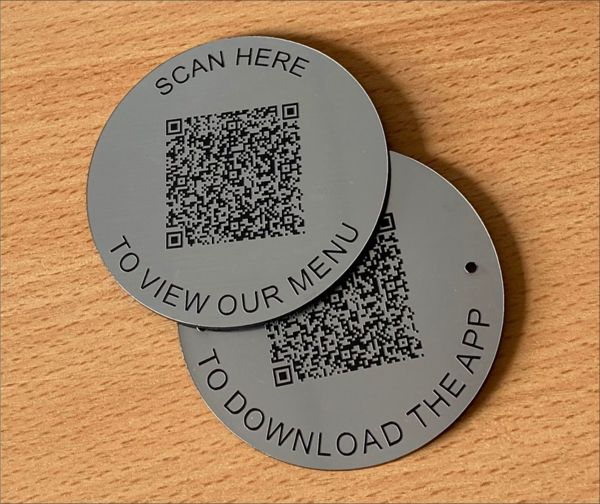 Brushed Steel Effect QR Code Table Discs   50mm
