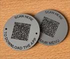 Matte Aluminium Effect QR Code Table Discs   50mm
