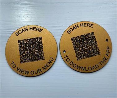 An image of Matte Brass Effect QR Code Table Discs - 70mm