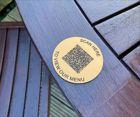 Matte Brass Effect QR Code Table Discs   70mm
