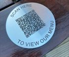 Brushed Steel Effect QR Code Table Discs   70mm