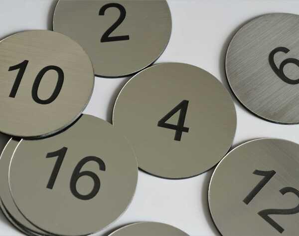 Steel Effect Table Numbers   30mm