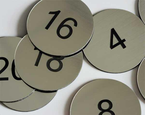 Steel Effect Table Numbers   50mm