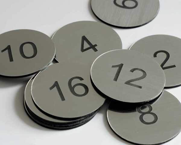 Steel Effect Table Numbers   70mm