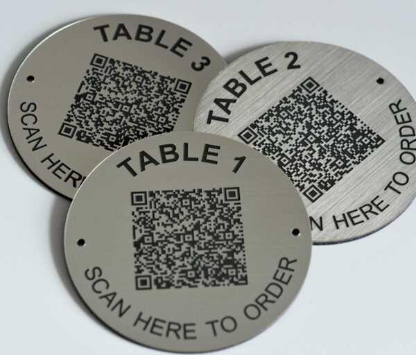 QR Code Steel Effect Table Numbers   50mm