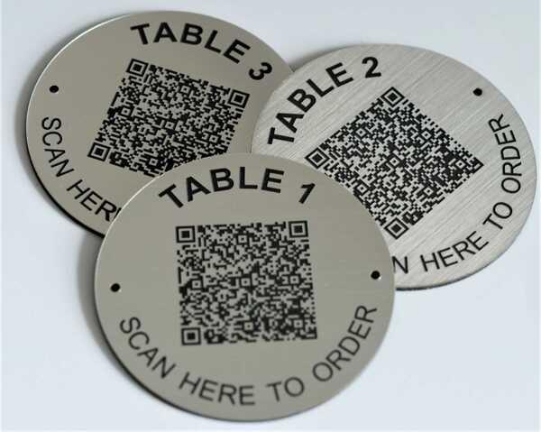 QR Code Steel Effect Table Numbers   70mm
