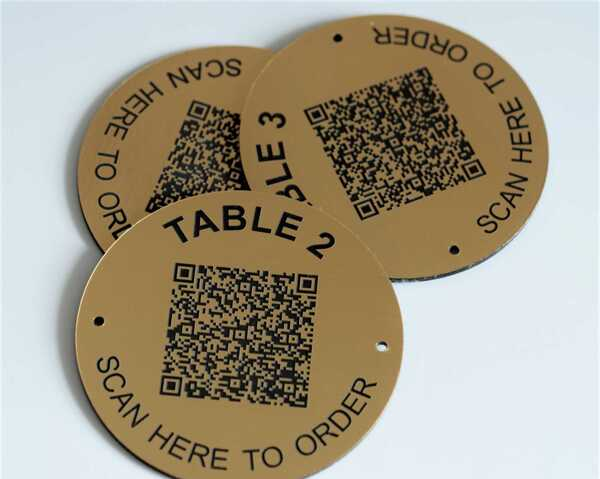 QR Code Brass Effect Table Number   50mm