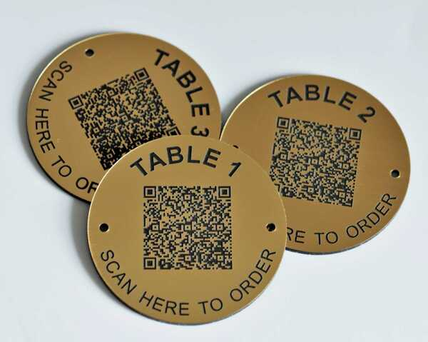 QR Code Brass Effect Table Number   70mm