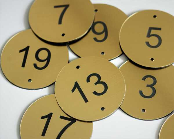 Brass Effect Table Number   30mm