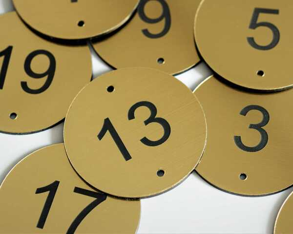 Brass Effect Table Number   50mm