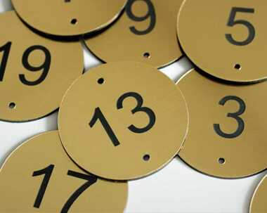 An image of Brushed Brass Effect Table Numbers - 50mm