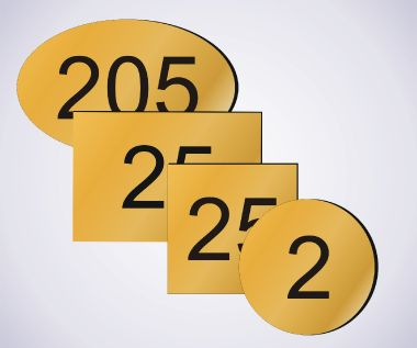 An image of Brass Room Numbers - 75mm x 50mm - Oval