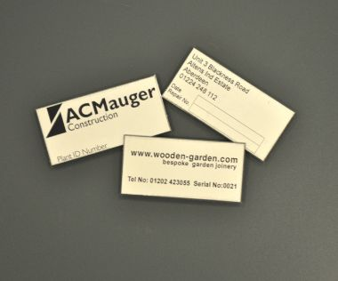 Aluminium Anodic Labels 50mm x 25mm