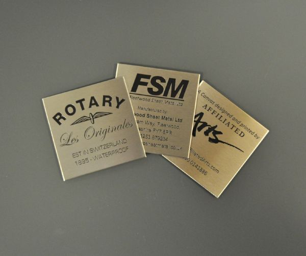 Etched Stainless Steel Labels 75mm x 75mm