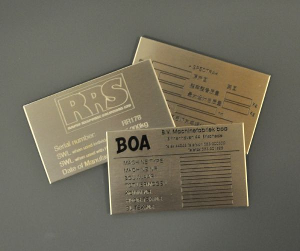 Etched Stainless Steel Labels 125mm x 75mm