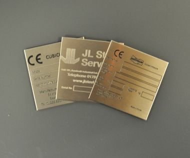 Etched Stainless Steel Labels 85mm x 85mm