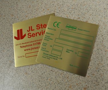 Etched Brass Labels 85mm x 85mm