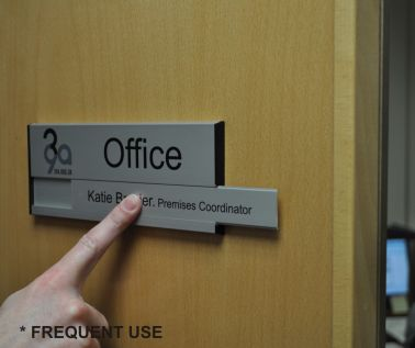 Interchangeable aluminium door signs office signs for Door name signs