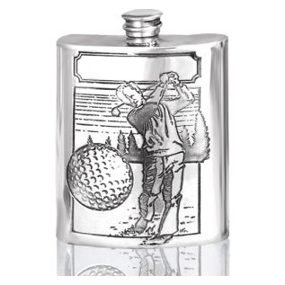 Pewter Hip Flask + Golf Design SF206