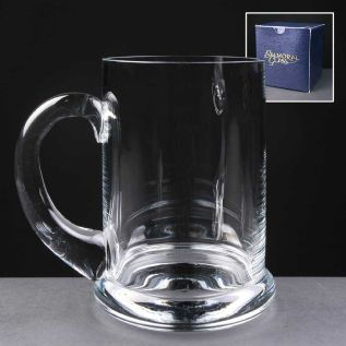 Engraved Glass Heeled Tankard