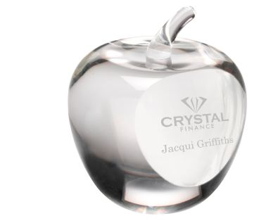 "Engraved Clear Glass ""Apple"" Paperweight"