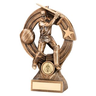 "Gold ""Batsman"" Cricket Trophy JR6-RF218"