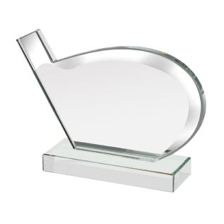 Silver Golf Club Award Glass Trophy NTC016