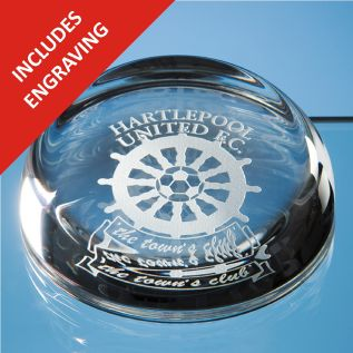 Engraved Flattened Glass Dome Paperweight