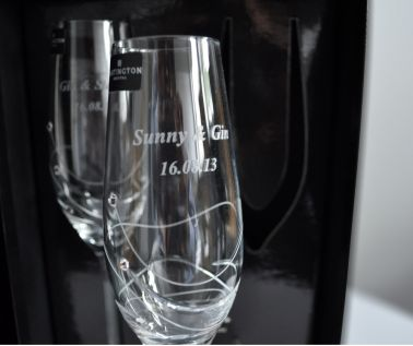 Engraved Single Champagne Flute - Dartington Glitz