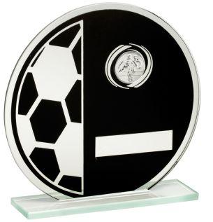 Black/Silver Glass Football Trophy JR1-TD421