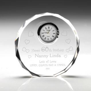 Engraved Circular Glass Clock