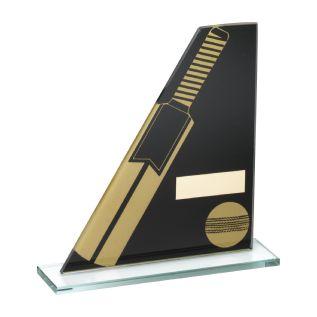 Black/Gold Glass Cricket Award JR6-TD236