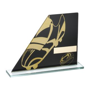 Black & Gold Glass Rugby Award JR4-TD234