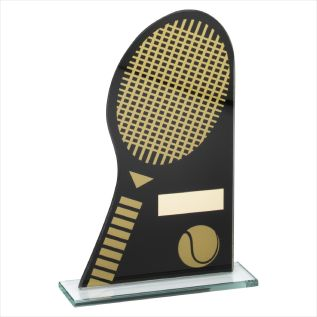 Black & Gold Glass Tennis Award JR21-TD237