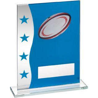 Blue/ Silver Glass Rugby Award JR4-TD644