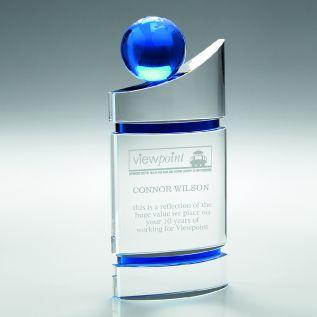 Clear/ Blue Glass Globe Award JB2020