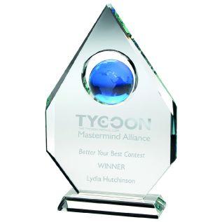 Clear/ Blue Glass Globe Award JB2050