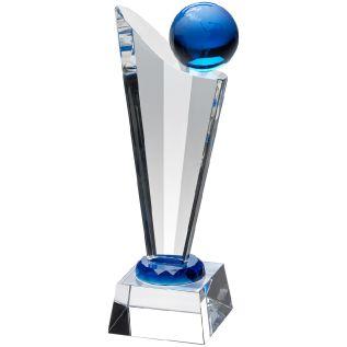 Clear/ Blue Glass Globe Award JB2030