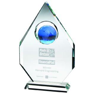 Clear and Blue Glass Globe Award JB2050