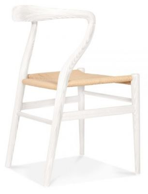 Katcut Dining Chair In White Rear Angle